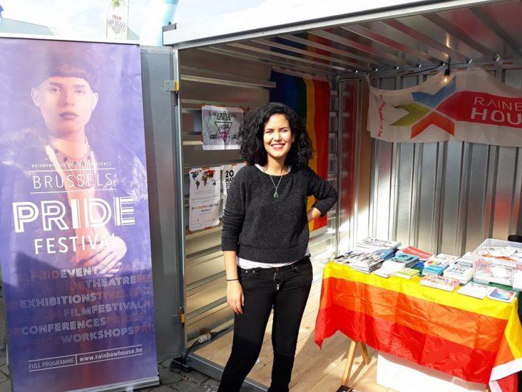 Le stand de la RainbowHouse au festival Brussel Brost 2017 avec Oumayma