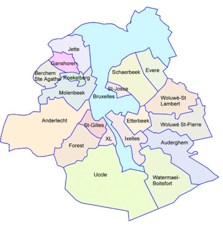 carte de la région de Bruxelles-Capitale